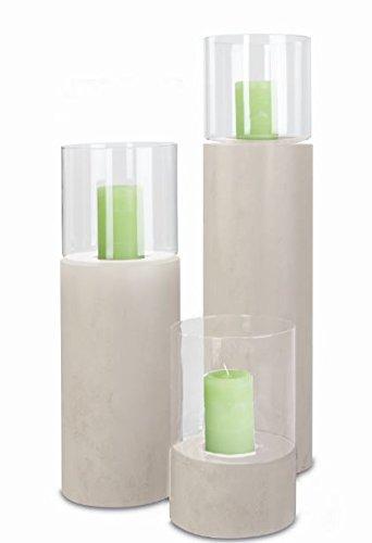 Windlicht Laternen Säule mit Glascorpus Creme 300 x 200 mm aus Metall. Windlicht Säule mit Kerzeneinsatz.