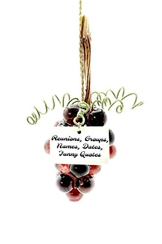 Glass Grape Cluster Ornament in Transparent Dark Amethyst, Personalized