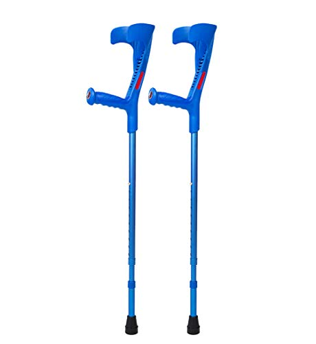 XRX Walking Forearm Crutches for Adults and Youth,Adjustable Foldable Lightweight Ergonomic Handle with Comfy Grip,High Density Sturdy Aluminum (Blue, 2)