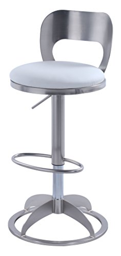 Oval Back Stool - Chintaly Imports 0408 Oval Metal-Back Adjustable Height Stool, White Faux Leather