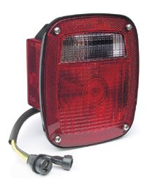 Grote 52812 Three-Stud, Chevrolet Ford Jeep Stop Tail Turn Light (w/ Side Marker & Molded Pigtail Termination, w/ License Window, LH)