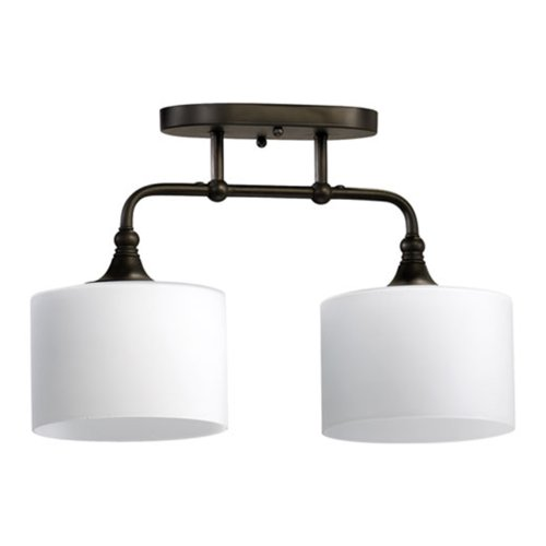 Quorum International 3290-2-86 Rockwood Collection 2-Light Semi-Flush, Oiled Bronze Finish with Satin Opal Glass (Flush Fixture Semi Ceiling Mission)