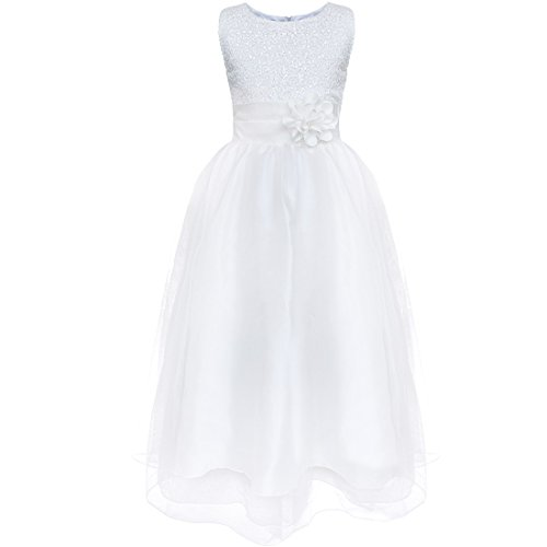 FEESHOW Kids Big Girls Sequined Formal Wedding Bridesmaid Pageant Party Flower Girl Dress Size 4-5 White