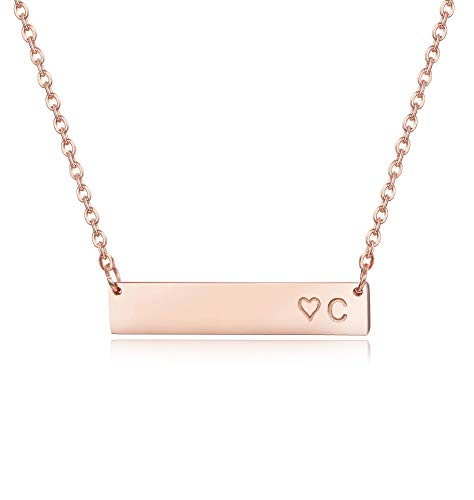 Finrezio Rose Gold Plated Stainless Steel Initial Heart Bar Necklace Alphabet Pendant Necklace for Women Girls Necklace Letter C