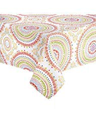 Circle Stitch Design Printed Fabric Tablecloth (60 x 84 Rectangle/Oblong)
