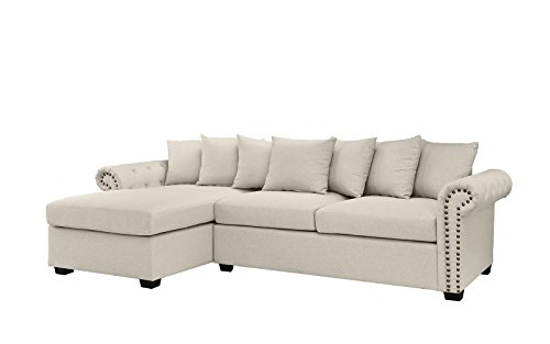 Modern Large Tufted Linen Fabric Sectional Sofa, Scroll Arm L-Shape Couch (Beige)