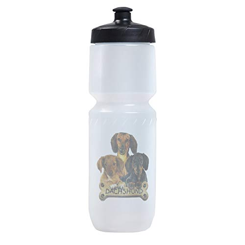 Sports Beverage Water Cycle Bottle Dachshund Trio with Bone Name Plate