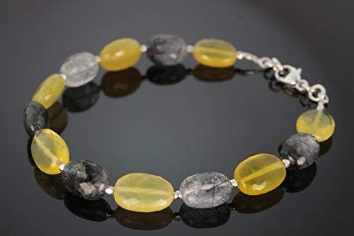 (Yellow Opal & Black Rutilated Quartz Beaded