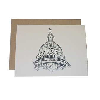 Silver Papery Capital of Texas Notecards - Box of 10 -
