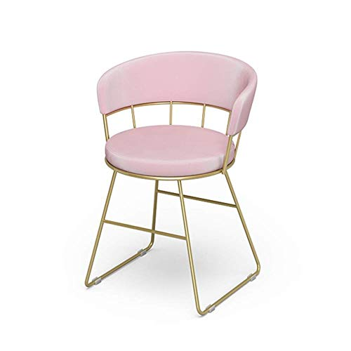 FENGFAN Makeup Chair, Iron Art Pink Backrest Dressing Table Chair Restaurant Cafe Teahouse Gold Single People Lounge Chair (Size : 455570cm)