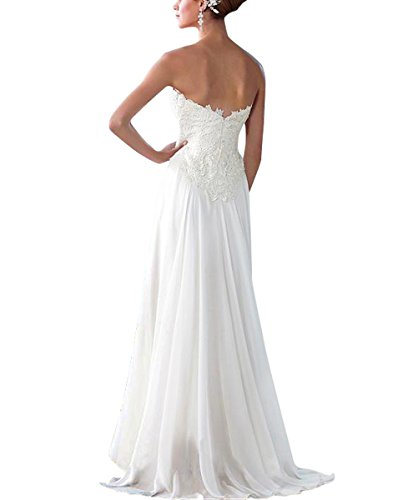 Simple White Neckline Lace with Beach line AiniDress A Dresses Chiffon Sweetheart Bride Strapless Wedding Dresses r6H4r0qw