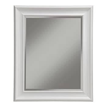 Amazon.com: Head West Contemporary White Frame Mirror, 28-1/2 by 34 ...