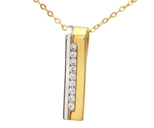 Revoni Bague en or jaune et blanc 9carats-Canal de Oxyde de Zirconium en pendentif et chaîne de 46cm