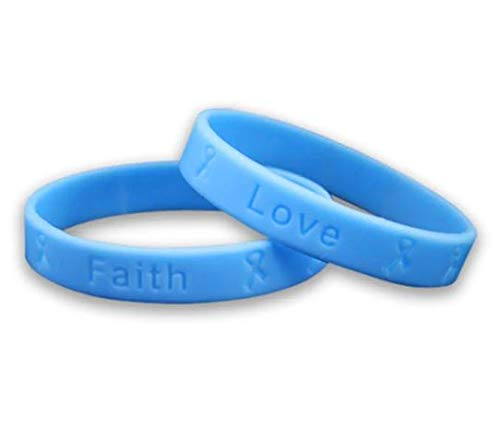- 2 Prostate Cancer Awareness Adult Silicone Bracelets - Light Blue Elastic Band Silicone