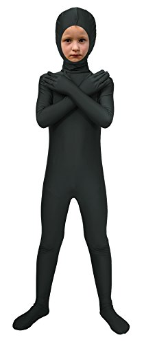 Sheface Spandex Face Out Second Skin Zentai Full Body Costume (Medium, Black)