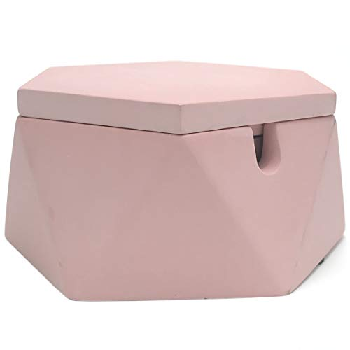 Pink Small Ashtray - FREELOVE AIGUAN Cement Ashtray, Hexagonal Geometric Ashtray with Stainless Steel Liner & Lid, for Home & Office (Pink, 4.7 in.)