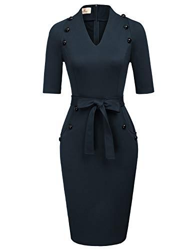 (Women's Official V Neck Half Sleeve Chic Business Sheath Dress M Navy Blue)