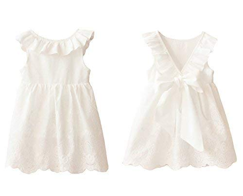 Abalaco Girl Cotton Backless Breathable Sleeveless Tutu Daily Wear Princess Dress, White, (1-2 Years)