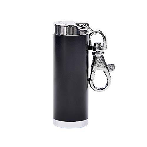 LABOTA Cylindrical Mini Portable Ashtray,Zinc Alloy,Black ()