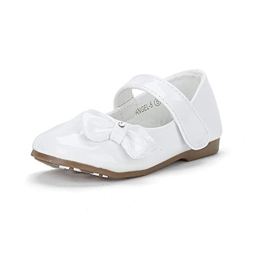 DREAM PAIRS Angel-5 Adorable Mary Jane Side Bow Buckle Strap Ballerina Flat White Pat 5 M US Toddler ()