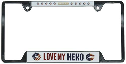 (Wincraft 25645218 USA Metal License Plate Frame Love My Hero, Multi)