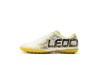 LEOCI Performance Turf Soccer Shoes - Men and Boy Soccer Shoes Indoor Soccer Cleat (1.5 D(M) US, White)