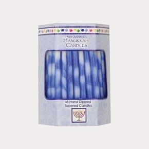 Deluxe Tapered Blue and White Splash Hanukah Candles