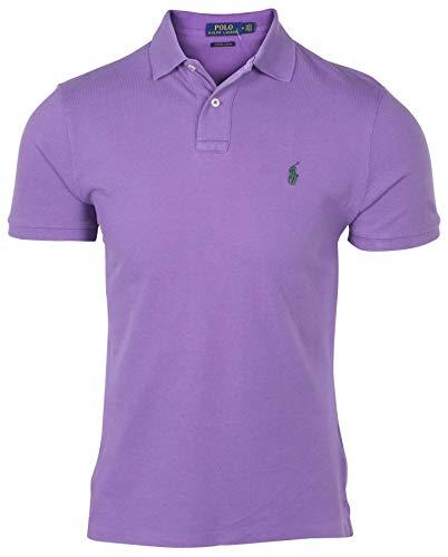 (Polo Ralph Lauren Men's Custom Slim Fit Pony Shirt-Purple-XL)