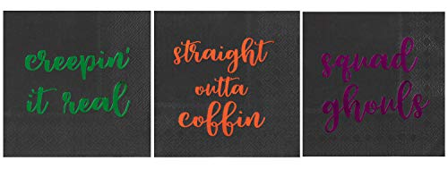 Cocktail Napkins - 102-Pack Luncheon Napkins, Disposable Paper Napkins Halloween Party Supplies, 3-Ply, 3 Halloween Funny Puns Foil Designs, Unfolded 10 x 10 Inches, Folded 5 x 5 Inches
