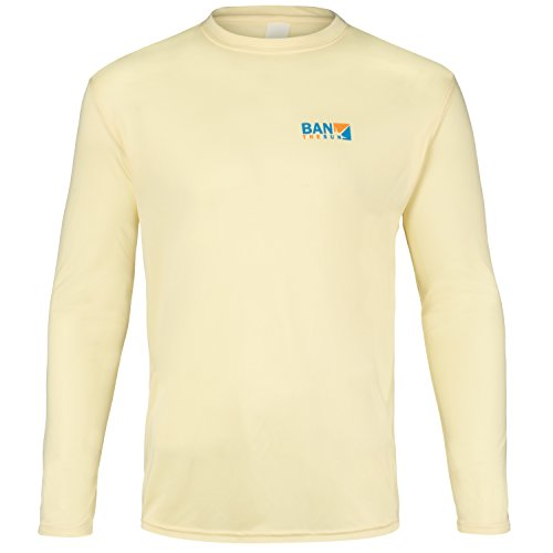 Ban The Sun Men's UPF 50+ UV Sun Protection Long Sleeve Performance Shirt (S, Soft Yellow ()