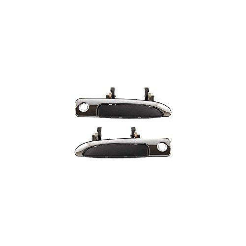 (Exterior Door Handles for Set of 2 Front Left and Right Side Plastic Chrome bezel W/black lever)