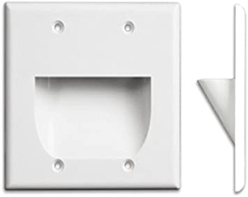 White Inverted Dual-Gang Bundled Wall Plate