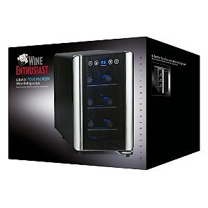 Wine Enthusiast 272 03 07 Silent 6 Bottle Touchscreen Wine Cooler, Black