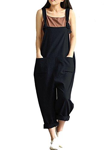 Women's Casual Jumpsuits Overalls Baggy Bib Pants Plus Size Wide Leg Rompers (3XL, B-Black2)