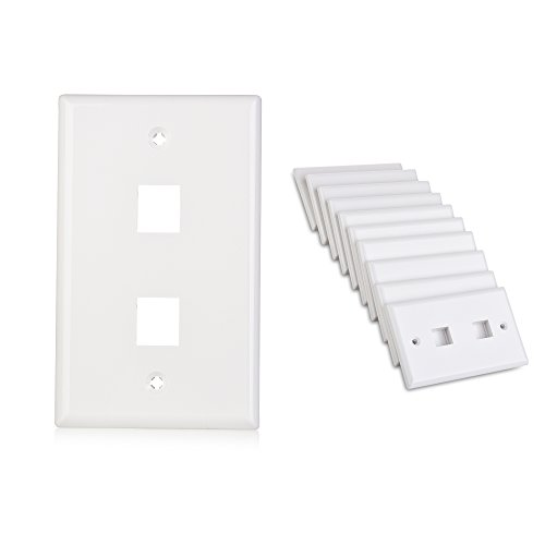 - Cable Matters 10-Pack Low Profile 2-Port Keystone Jack Wall Plate in White