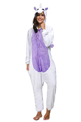 Animal Pajamas for Women Men Adult Onesie Unisex Sleepwear Halloween Cosplay Costume (M, Purple -