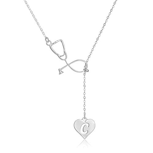 Rose Silver H&c - Dcfywl731 Rose Gold Silver Stethoscope Lariat Necklace,Heart and Stethoscope Pendant for Doctor Medical Student Gift,The Doctor Nurse Jewelry (C Stethoscope Necklace)