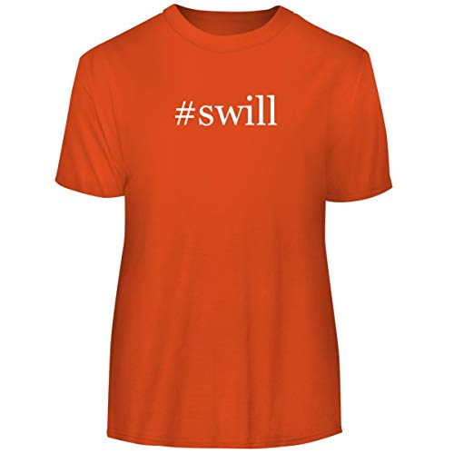 One Legging it Around #Swill - Hashtag Men's Funny Soft Adult Tee T-Shirt, Orange, Large