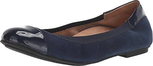 Vionic Women's Spark Tiegan Ballet Flat Shoes - Dress Casual Flats with Concealed Orthotic Arch Support 9.5 M US Blue