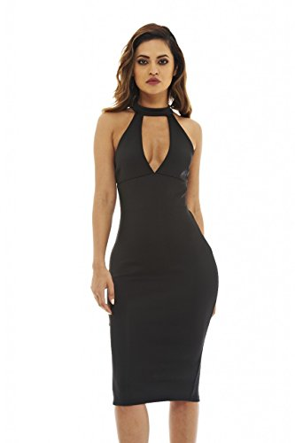 Neck Cut Out Dress (AX Paris Women's Cut Out Neck Midi Dress(Black, Size:4))