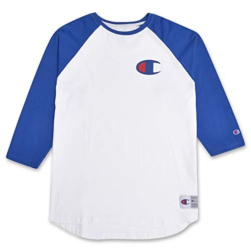 Champion Mens Big and Tall Raglan Baseball T Shirt with 3/4 Sleeve and Big C Logo White/Royal XL (Best Alternative Baseball Tees)