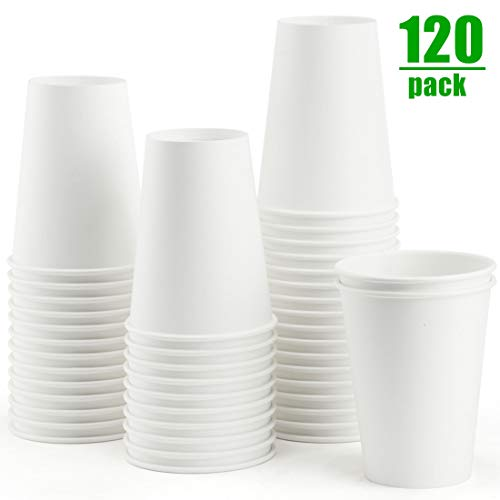 Eupako White Disposable Paper Cups 12 oz Coffee Drink Hot Cup Perfect for Water, Tea, Hot Cocoa, 120 count