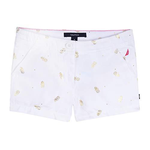 (Nautica Big Girl's Pull On Shorts, graphic white, 16)