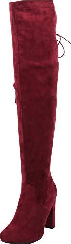 - Cambridge Select Women's Thigh High Back Corset Lace Chunky High Heel Over The Knee Boot,7.5 B(M) US,Wine IMSU