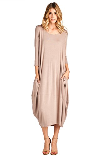 12 Ami Solid 3/4 Sleeve Bubble Hem Pocket Midi Dress Beige M