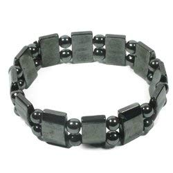 CrystalAge Magnetic Hematite Bracelet - Large Barrels and Spheres