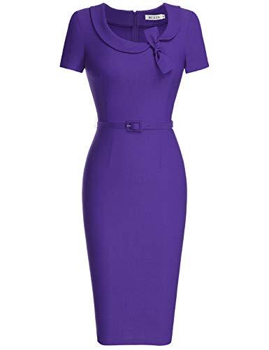 MUXXN Women's Flattering Boat Neck Empire Waist Juniors Party Summer Dress (Purple XL)