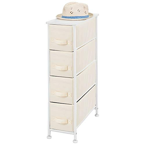 mDesign Narrow Vertical Dresser Storage Tower - Sturdy Metal Frame, Wood Top, Easy Pull Fabric Bins - Organizer Unit for Bedroom, Hallway, Entryway, Closet - Textured Print, 4 Drawers - Cream/White (Tower Cube Storage)