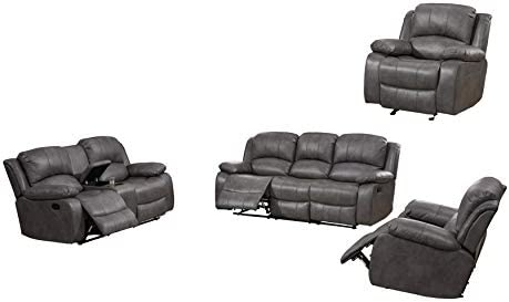 Betsy Furniture Bonded Leather Recliner Set Living Room Set, Sofa Loveseat Chair Pillow Top Backrest and Armrests 8018 Grey, Living Room Set 3 2 2 1