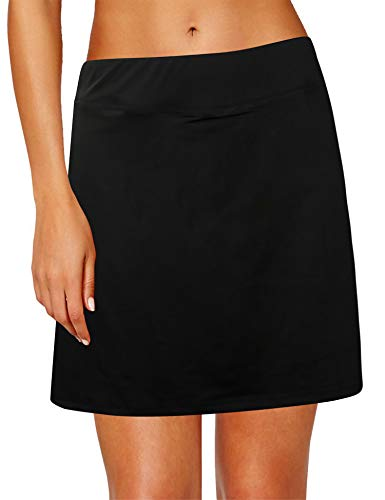(Oyamiki Women's Active Athletic Skort Lightweight Skirt Inner Shorts Perfect for Running Golf Tennis Workout Casual Use Black/M)